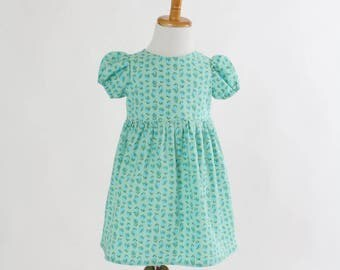 Easter Dress for Girls Size 3T Toddler Dress Blue Spring Summer Dress Birthday Party Dress Short Sleeve Dress Cotton Summer Dress Ready Ship