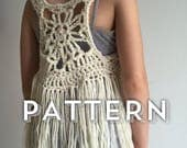 NESO Boho Fringe Vest Crochet Pattern by Hadley Paige Designs.  Summer wear. 3 sizes baby, toddler & child.  kids fashion baby styles