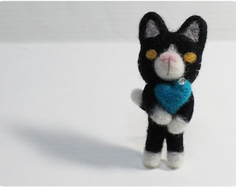 Tuxedo Cat -  black white cat, cat needle felted wool brooch, crystal bead