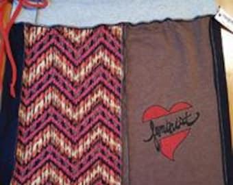 Feminist Heart Brown Upcycled Tshirts Skirt Size Medium/Large