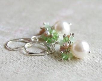 Pearl Cluster Earring - Pastel Jewelry - Sterling Silver Earrings - Green Brown Crystal Jewelry - Christmas Jewelry