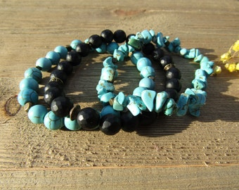 Turquoise & Black Onyx Stackable Bracelet Set/ Mala Bead Bracelets/ Black and Turquoise Bracelet Stack