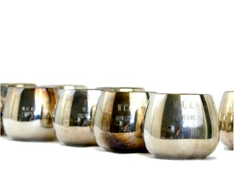 WCC Bowling Trophy Rocks Glasses, Set of 9 Wm. A. Rogers Silver Plated Engraved Trophy Rocks Roly Poly Cocktail Glasses 1968 - 1972