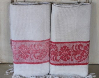 Two Antique French hand or guest towels, Bandeau rouge towels, Red band towels, Waffle weave towels, French guest room towels, French linens