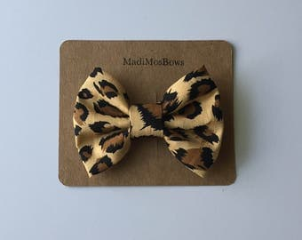 Fabric Bow Cheetah 3 inch
