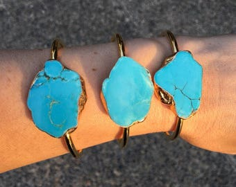 Turquoise Howlite Cuff Bracelet, boho jewelry