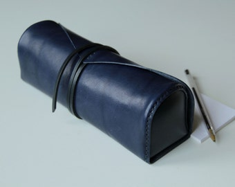 100% handmade leather pouch,make up case , pencile case, toolbag,handstitched ,night blue leather,brown, GENATI, man gift, woman