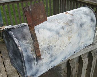 Vintage US mailbox , rustic mailbox , old painted metal box , shabby mailbox , crackle paint mailbox