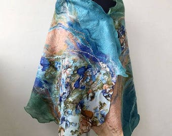 "Nuno felted blue scarf shawl poncho felting wool luxury floral romantic tippet stole ""Romantika"""