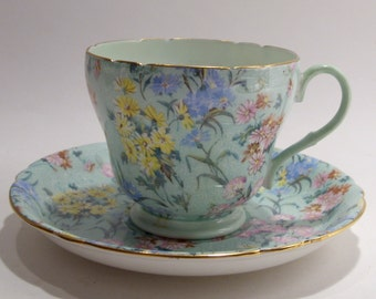 Shelley Green Chintz Garden Melody Tea Cup and Saucer Fine Bone China Made in England