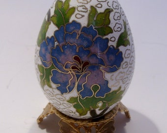 Blue and Purple Flower Cloisonne Egg on Gold Brass Butterfly Stand