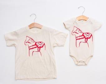 Infant & Kid Tee - Dalahorse Shirt - Swedish Horse T-shirt