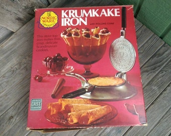 Vintage Nordic Ware Krumkake Iron with Wood Rolling Cone and Original Box Stove Top