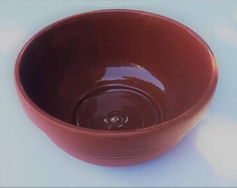 Vintage Terracotta Bowl, farmhouse redware mixing bowl, orange pottery tableware kitchenware 2.5 fluid quarts