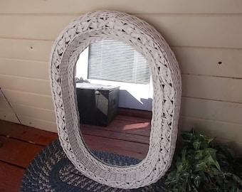 Mirror, Vintage Wicker Oval Mirror beautiful wicker pattern, Mirrors, wicker mirror, vintage wicker, vintage home decor, Vintage Home Decor