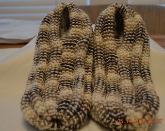 Slippers-Mens Tan and Brown Extra Thick Knitted