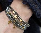 50% OFF Stack Bracelets, Set of Five Bracelets, Boho Bracelets, Heart Bracelet, Hematite Bracelet, Beaded Bracelets, Stretch Bracelets, Bohe