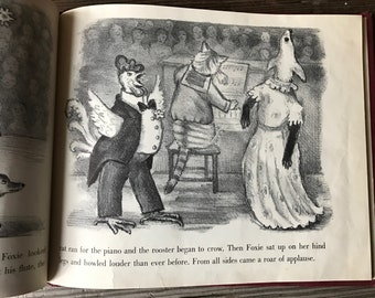 1949 First Edition Childrens Book, Foxie by Ingri and Edgar Parin d'Aulaire, Full Page Illustrations, Hardcover