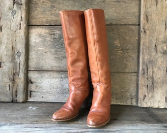 Frye Sienna Brown Tall Heeled Leather Riding Boots, Size 7, 7,5 US