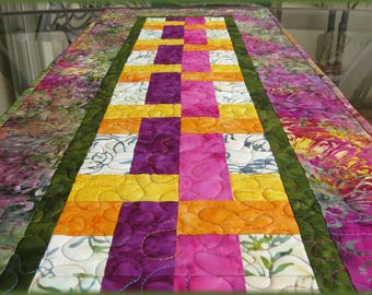 Quilted Table Runner Quilt Tonga Fig Batik Quilt 609