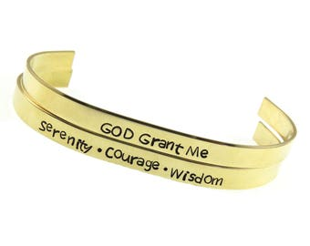 Serenity Prayer Bracelet - Engraved Cuff Jewelry - Hand Stamped Jewelry - Quote Cuff Jewelry - Mantra  - Expressions Bracelets