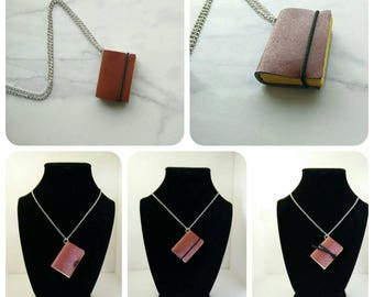 Hogwarts inspired pleather Gryffindor mini book necklace