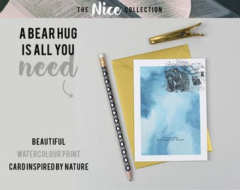 Bear Hug Watercolour A6 Card with Gold Envelope