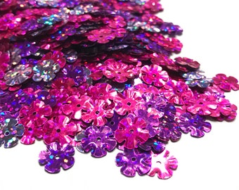 pink and purple tones, flower sequins, 10 mm (35)+
