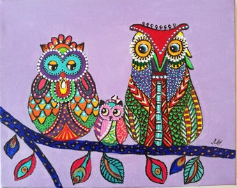 Owl Painting Acrylic Original Canvas Colorful - Family Owls - Rainbow Abstract - Owl Wall Art - Love Birds - Colorful Painting - Wise Owl