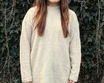 Tan Cotton Sweater with Geometric Pattern