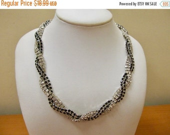 On Sale Vintage Prong Set Black and Clear Braided Rhinestone Necklace Item K # 323