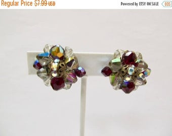 On Sale Vintage Red and Smokey Iridescent Cluster Earrings with Rhinestones Item K # 1354