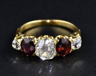 Rare Victorian five stone diamond and garnet ring