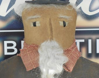 Primitive Uncle Sam-Primitive Uncle Sam Doll-Uncle Sam Stump Doll-Cupboard Tuck Uncle Sam--tbu 941
