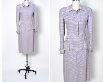 Vintage 1940s 40s Women's Suit Pink and Purple Check