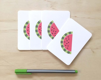 Mini Gift Card Pack + Mini Envelopes - Watermelon - Set of 4 Rounded White Small Cards - GC09