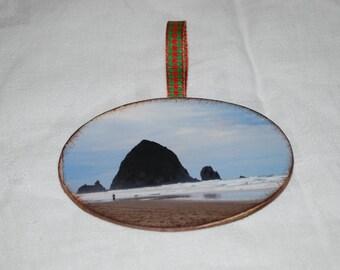 wooden photo ornament Cannon Beach ornament