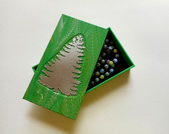 """Decorative hand-made box for your jewelry or heirlooms - """"Christmas Tree- Green"""".  For Jewelry box. Treasures, Keepsakes, Supplies, Desk"""