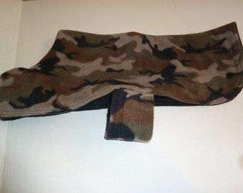 Medium - Camo Winter Fleece Dog Coat in Khaki. Tan, Black and Black