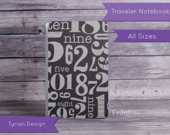Dashboard for Traveler's Notebook - Various Sizes with pocket option - Numbers & Green pattern - All Sizes