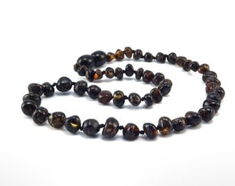 Amber Baltic Necklace Toddler Child Teething Baby Polished Rounded Dark Beads
