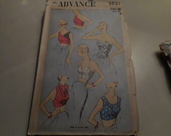 Vintage 1950's Advance 5521 Bombshell Pinup Halter Tops Sewing Pattern Size 20 Bust 38