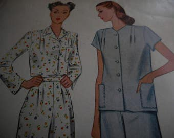 Vintage 1940's McCall 5849 Pajamas Sewing Pattern, Size 14 Bust 32