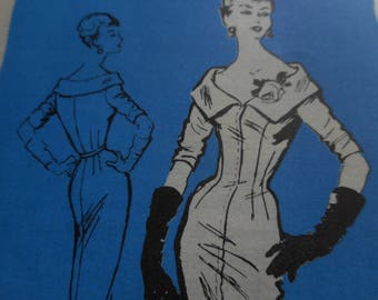 Vintage 1950's Mail Order A736 Prominent Designer Gothe Dress Sewing Pattern, Size 12 Bust 32