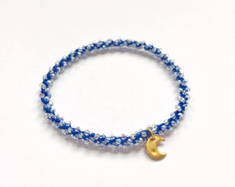 Ajna- Third eye chakra, golden moon charm, Swarovski crystal, beaded crochet, stackable, yoga charm bracelet