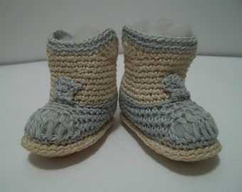 Vintage 1940's Crocheted Baby Booties Blue and White