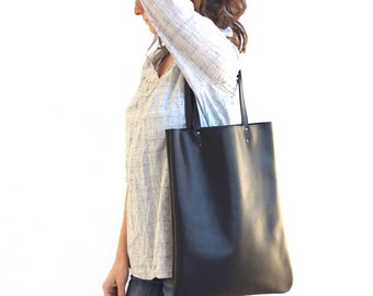 Black leather bag, leather tote bag, black Leather shoulder bag