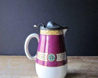 Antique Syrup Pitcher, English Antiques, Pewter Lid, 1800's Antiques, Vintage Ceramic Pitcher, Earthenware Pitcher, Magenta Pink Pitcher