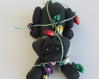 Labrador Retriever Dog Christmas Ornament Polymer Clay Black