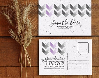 Save the Date, Save the Date Postcard, Printable Save the Date, Watercolor Save the Date, Modern Save the Date, Chevron Save the Date